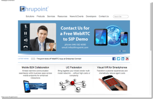 Thrupoint, Inc   WebRTC   WebRTC to SIP   SIP Session Management   Fixed Mobile Convergence