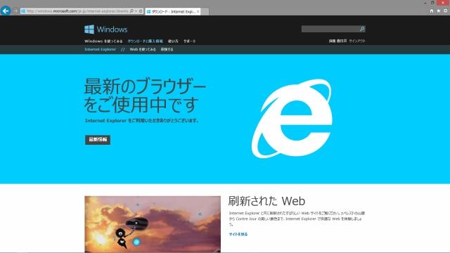 IEのユーザ向けのWebサイト