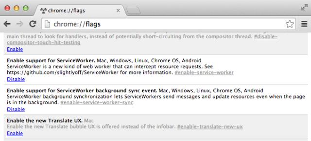 Chrome://flagsのスクリーンショット