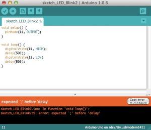 Arduino IDE での文法ミスのエラー画面